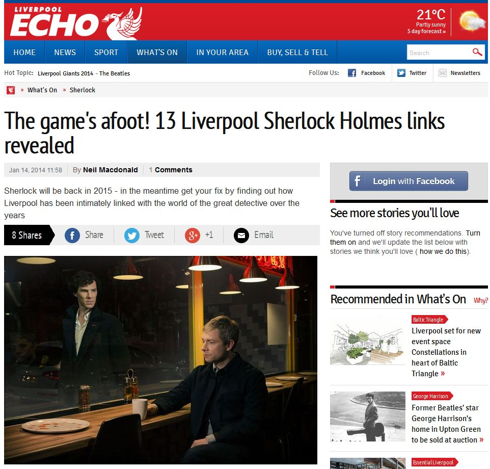 Sherlock Holmes links to Liverpool